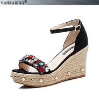 VANKARING summer fashion high quality women shoes wedges women platform sandals crystal super high heels ladies party date