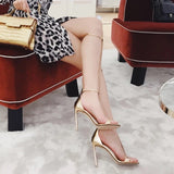 Arden Furtado 2018 summer high heels 10cm stilettos fashion sexy gold nude ankles strap small size 32 33 cover heels sandals new