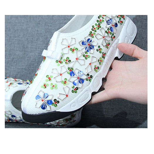 women diamond high quality bee embroidered sequin floral sneakers ladies beautiful flats shoes pearl embroidery black trainers