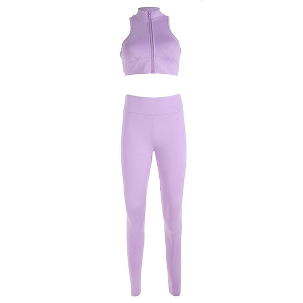 PENERAN New Sport Suit Women Workout Clothes Dry Fit Fitness Gym Sports Wear Top Legging Yoga Sets Purple Pink Zipper Tracksuit
