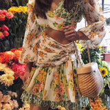 TWOTWINSTYLE Print Dresses Female Off Shoulder Lantern Long Sleeve Hollow Out Irregular Mini Dress For Women Casual