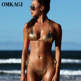 OMKAGI Sexy Push Up Brazilian Bikini 2019 Shiny Micro Bikinis Set Bathing Suit Beachwear Swimming Summer Swimsuit Swimwear Women