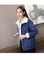 Spring Autumn Winter New Women lambswool jean Coat With 4 Pockets Long Sleeves Warm Jeans Coat Outwear Wide Denim Jacket