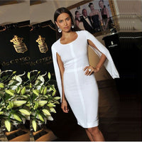 New Summer Bandage Dress Women Celebrity Party White Batwing Sleeve O-Neck Elegant Sexy Night Out Club Dress Women Vestidos