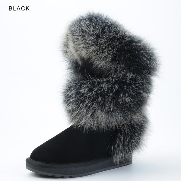 INOE Luxurious blue fox fur women winter snow boots round toe flats rubble sole cow suede leather women winter shoes black grey