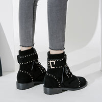 Arden Furtado 2018 spring autumn flat round toe fashion lace up matin boots rivets genuine leather black suede women's shoes new