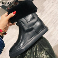 Winter Brand Round Head Solid Color Lady Shoes 2018 Sexy Hairy Genuine Leather Ankle Boots Woman Party Wedding Low Heels