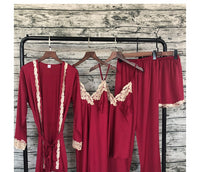 Women Satin Sleepwear 5 Pieces Pyjamas Sexy Lace Pajamas Sleep Lounge Pijama Silk Night Home Clothing Pajama Suit