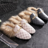 Women Flat Hairy Slippers Slip On Mules Women Loafers Brand Square head ladies Plush Half slipper shoes women Fur shoes women