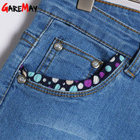 Garemay Skinny Capris Jeans Woman Summer 2019 Blue Denim Knee Length Women's Polka Dot Pants Jeans Capri for Women Jean Femme