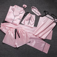 Kawaii ladies Sleepwear 7 Pieces Set Pyjama pink satin silk sexy pajamas Sets soft sweet cute Nightwear gifts home clothing 2019