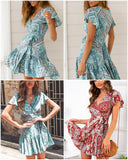 Simplee Bohemian print summer dress women Ruffled short sleeve sashes mini dress Wrap v-neck sexy ladies dresses vestidos 2019