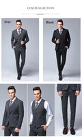 Autumn Winter Wedding Suit Men Fashion Luxury Brand Design Mens Suits with Pants  New Business Casual 3 Piece Man Suits