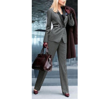 Top Fashion Rushed Pantalones Mujer Women Work Clothes Grey Ladies Custom Made Office Business Tuxedos Formal Suits Wear