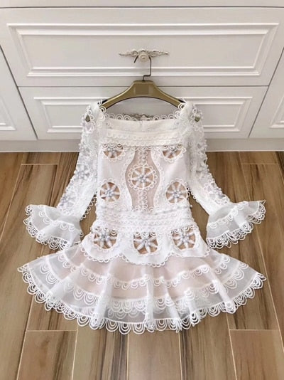 White Runway Dress Women Long Sleeve Elegant Party Mini Dresses 2019