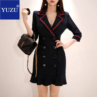 Black Blazer Dress Office Double-breasted Ruffle With Brooch Pencil Solid Three Quarter Sleeve Turn-down Collar Autumn Dresse