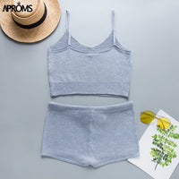 Aproms Boho White Knitted Crop Top and Shorts Women Elegant 2 Pieces Set Summer Low Waist Beach Bikini Romper Female Outfit 2019