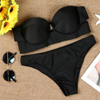 Push Up New 2018 sexy Women Solid Beachwear Bikini Suit Swimsuit Female Beachwear Swiming Suit for Women Biquini