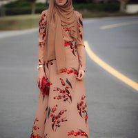 Cherry long sleeve hot sale modest fashion formal muslim dress hijab robe dubai pakistani for women