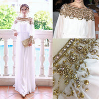 New Muslim Abaya Dress Turkish Women Clothing Heavy Beaded Chiffon Islamic Moslem Long Sleeve Dresses Robe Arabic Moroccan