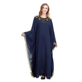 Muslim dress Islamic clothing Hijab dress Elegant Embroidery Islamic Muslim Kaftan Abaya Lace Long Sleeve Maxi Dress D300410