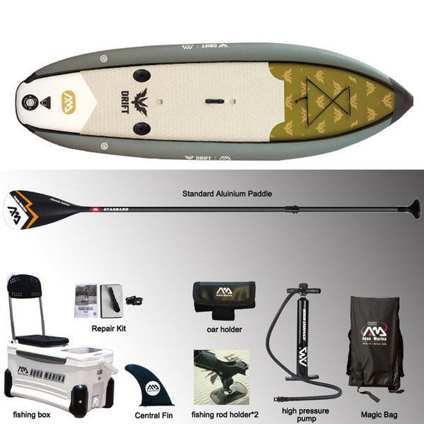 Free Shipping via FedEx IP 7 days , AQUA MARINA 330*97*15cm DRIFT inflatable sup board stand up paddle board, fishing SUP board surfing board with incubator  A01010