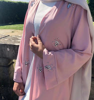 Muslim Diamonds Beading Cardigan Abaya Full Dress Kimono Long Robe Gowns Jubah Dubai Middle East Ramadan Arab Islamic Clothing