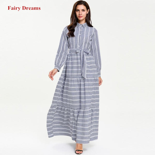 Bandage Muslim Shirt Dress Women Abaya Kimono Turkey Dubai Plaid Kaftan Turkish Plus Size Islamic Clothing 4XL Bangladesh Robe