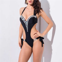 Sexy Swimsuit Woman 2019 White Shinning Zircon Black Patchwork One Piece Swimwear Women Bodysuit Bandage Tie Thong Swimming Suit