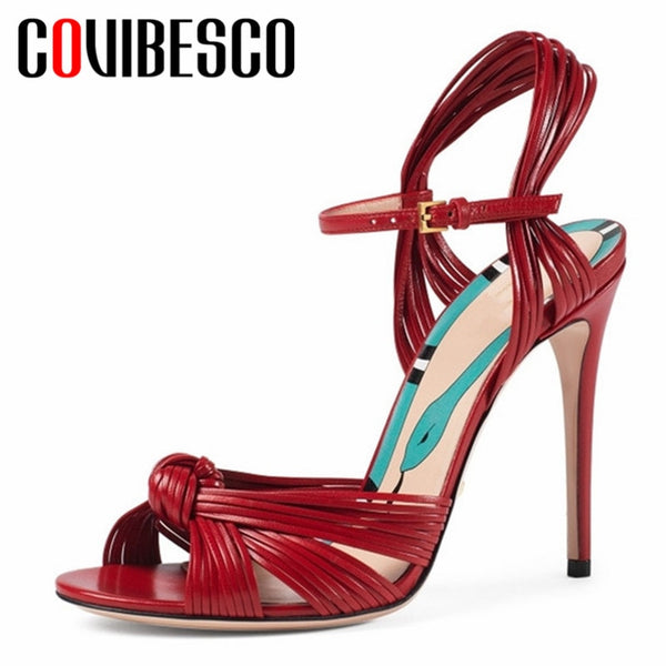 42272056d8345 COVIBESCO New Brand Design Genuine Leather Buckle Women Sandals 2019 Summer  Round Toe Super High Heels