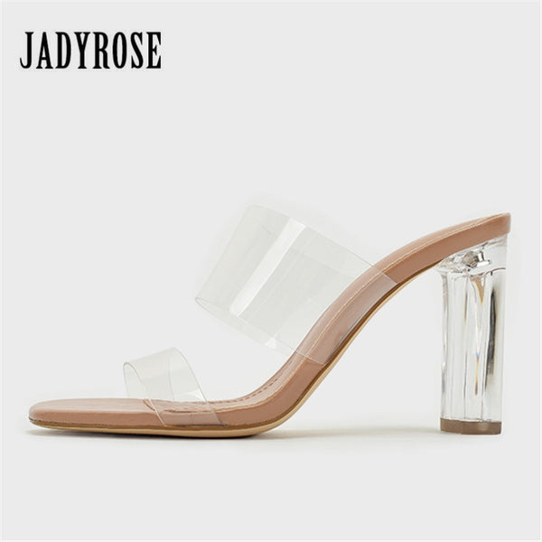 Jady Rose PVC Women Summer Slippers 9CM High Heels Sexy Slides Women Pumps Dress Shoes Woman Gladiator Sandals Mules Clear Heels