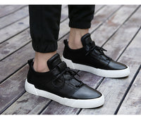 Fashion Men Genuine Leather Casual Shoes, Brand Sneakers Shoes for Man, Black Men Leather Shoes, Zapatillas Hombre Walker Peak