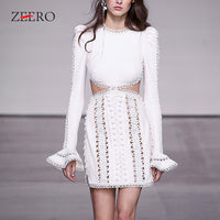High Quality Runway Lace Mini Dress Spring Women Sexy Vintage Embroidered Hollow Out Flare Sleeved Holiday Bodycon Party Dress
