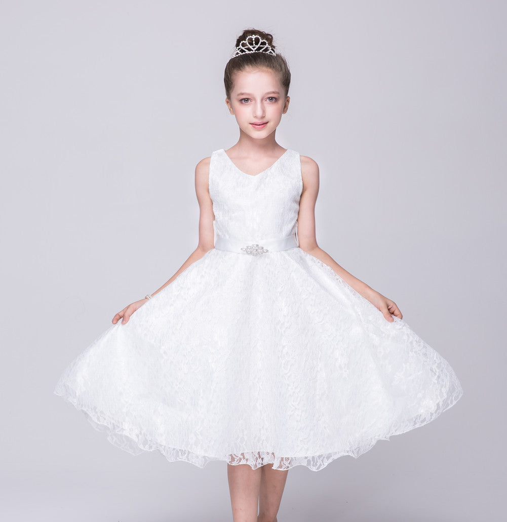 Elegant White Lace V-Neck First Communion Dresses with Belt