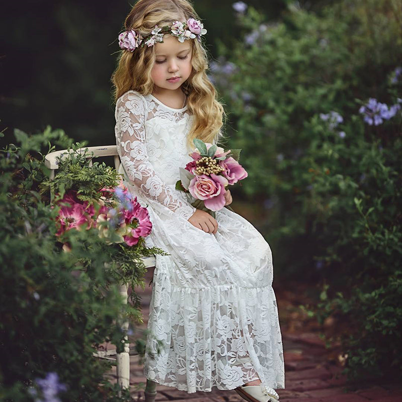 Soft Lace Flower Girl Dress Boho Maxi Princess Wedding Photo Party Dress