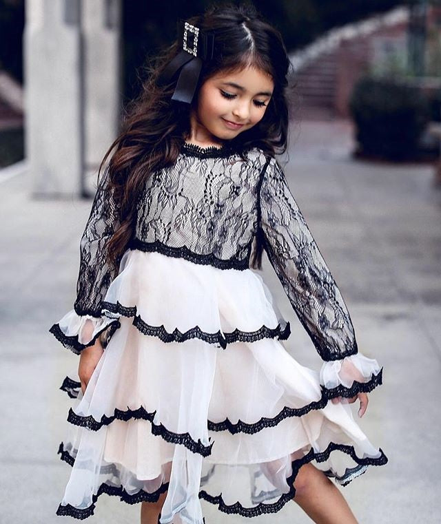 Kid Girls Wedding Party Flared Sleeve Lace Flowers Pageant Princess Dress 6M-5Y