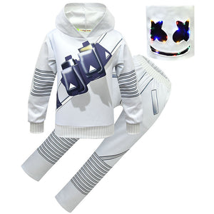 Kids & Teen Marshmallow Costume Light-up LED Helmet DJ Marsh-mello Cosplay Outfits Set for Girls Boys