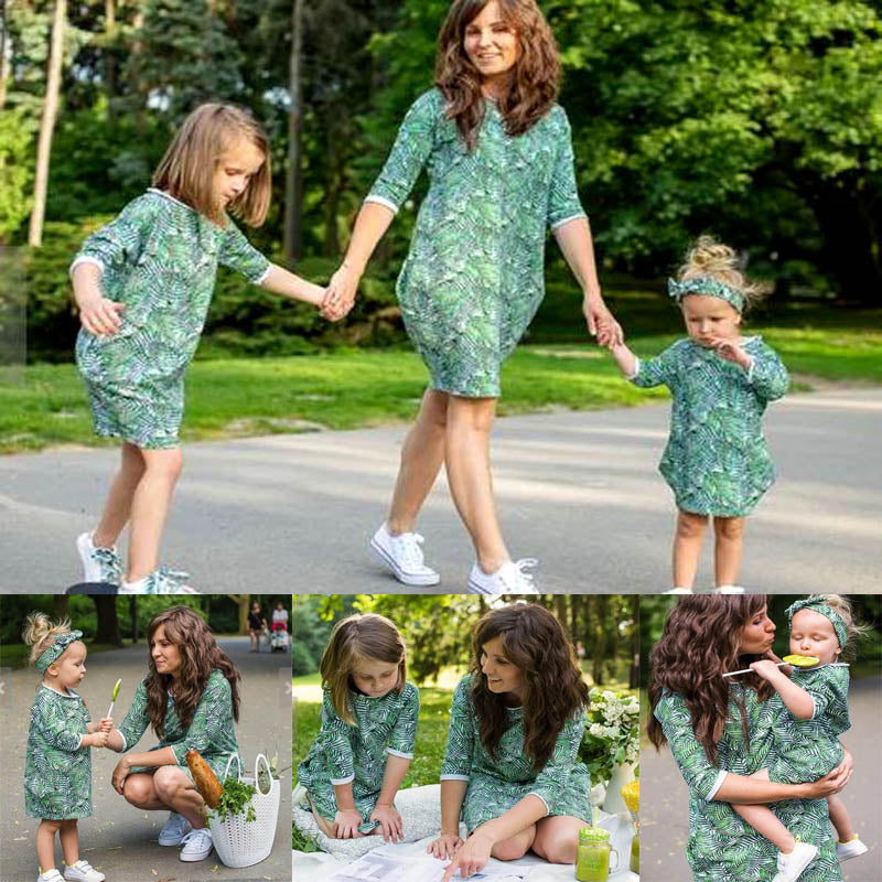 Mommy and Me-Women Kids Family Matching Floral Dress Outfits Loose Dress+Headband 2Pcs