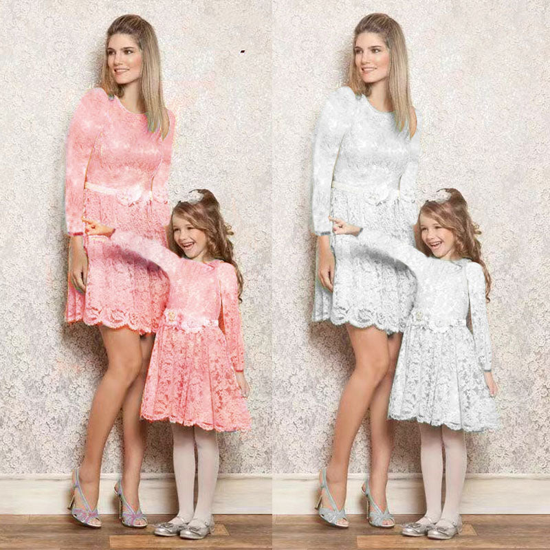 Mommy and Me-Family Matching Mother Daughter Lace Floral Long Dresses