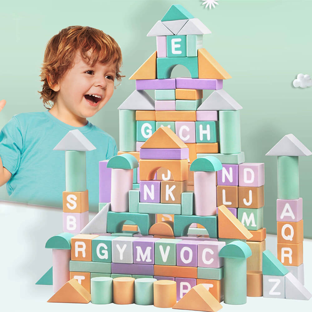 80PCS Wooden Building Blocks Set for Toddlers, Girls Boys Macaron Blocks