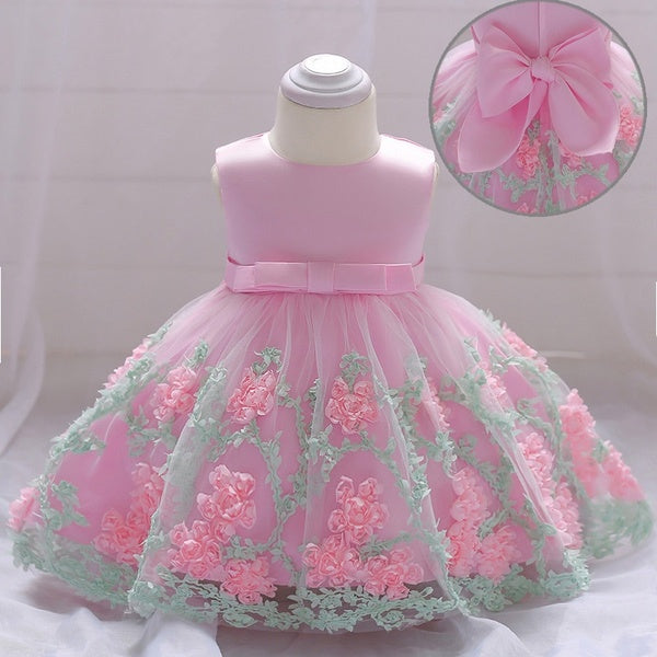 Baby Girls/ Toddler 3D Flowers Birthday Dress Kids Pageant Prom Party Wedding Dresses for Little Girls