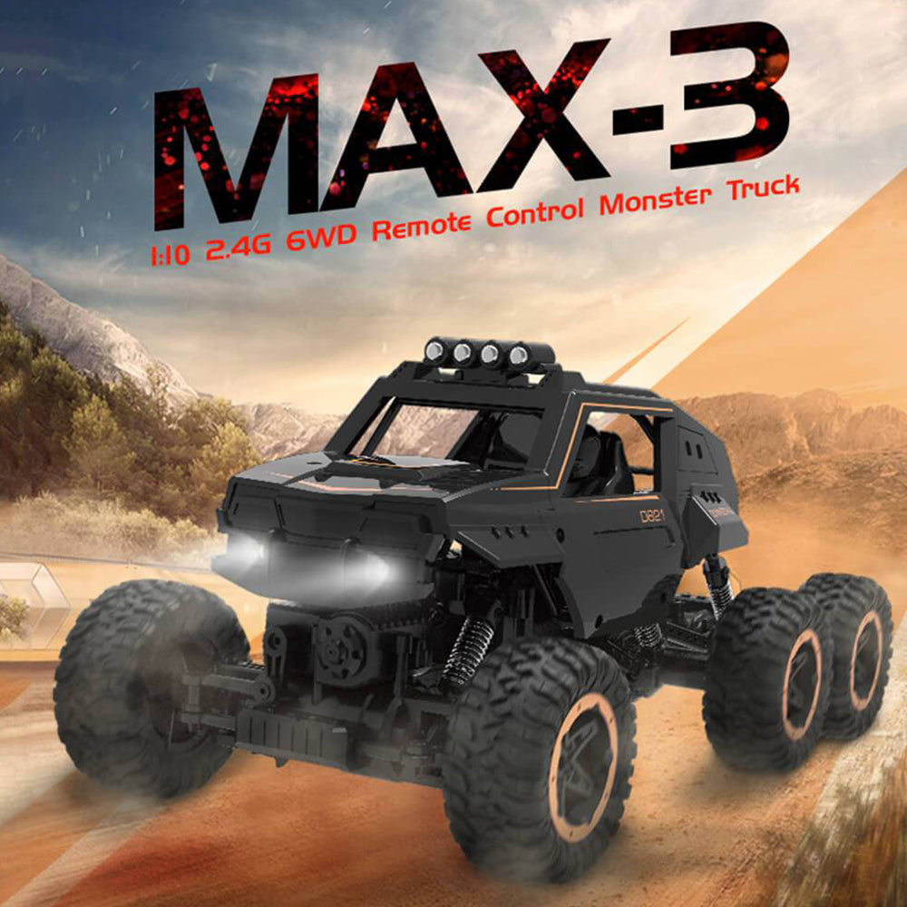 1/10 Scale 6WD Remote Control Truck Dual Motors Rechargeable Off Road 6x6 Car Monster For Kids and Adults