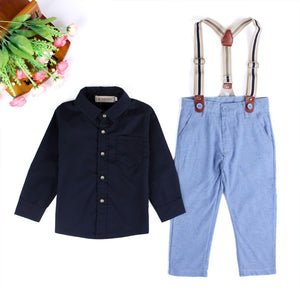 Baby Boys Long Sleeve Cozy Soft Romper Jumpsuit T-Shirt Tops+Braces+Trousers Outfits