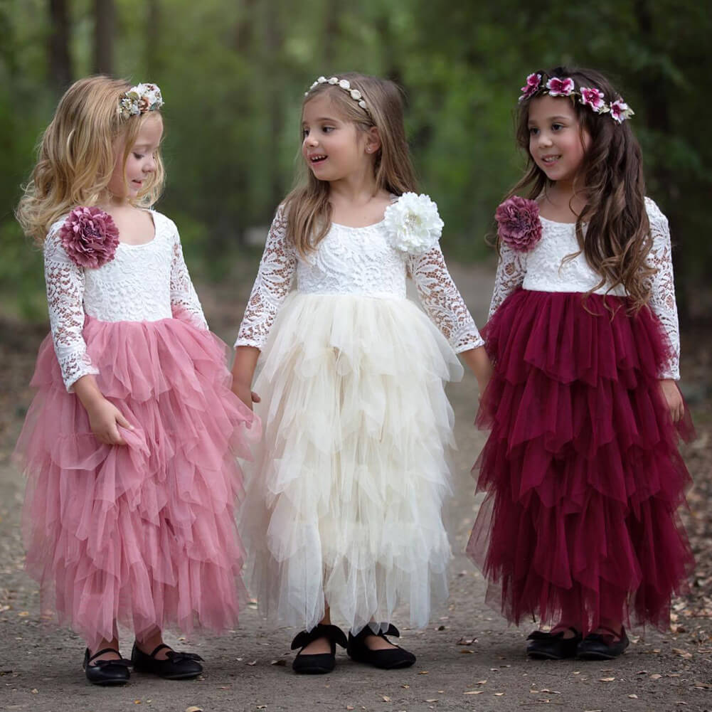Toddler Girls Summer Lace Tutu Layered Dress Long Sleeve Party Dress