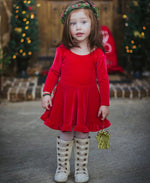 Fashion Girls  Long Sleeve With Bow Knot Princess Party Pageant Dress 1-6T