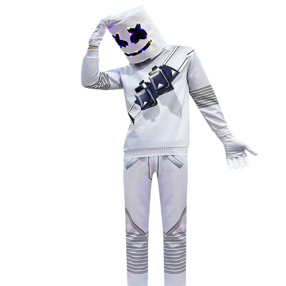 Adults Marshmallow Costume DJ Rock Music Party Halloween Cosplay Outfit