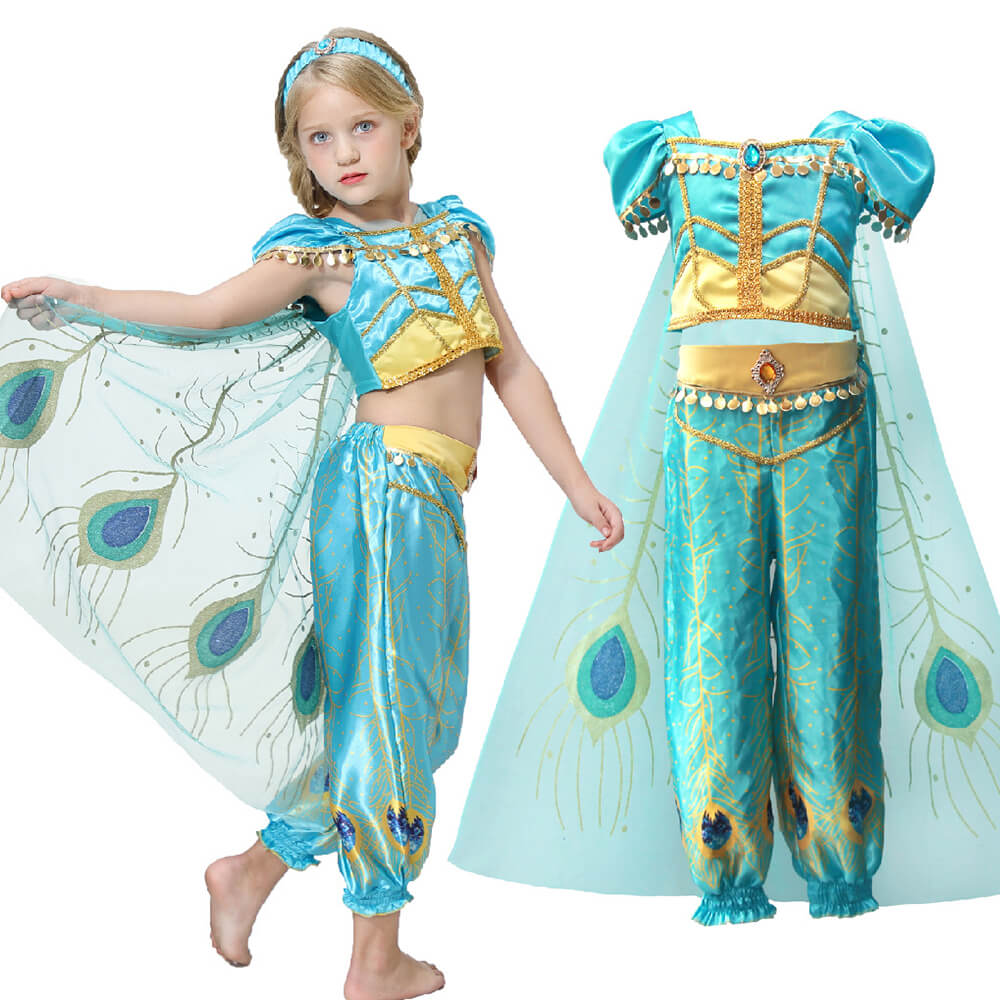 Aladdin 2 Kids Jasmine Dress Halloween Cosplay Costume 4-pieces Full Set