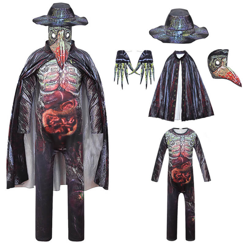 Kids Plague Doctor Costume Halloween Punk Party Cosplay Outfit Suit