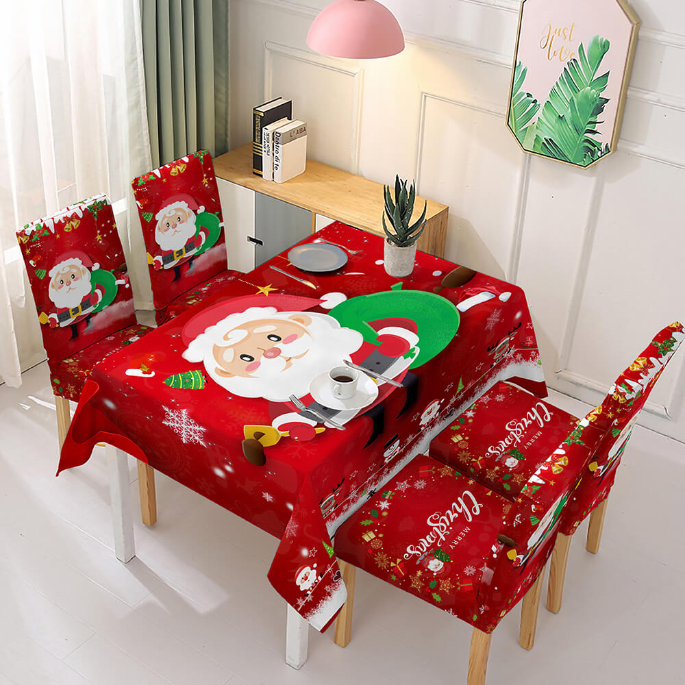 Christmas Waterproof Tablecloth and Stretchable Chair Covers Dust-Proof Family Party Table Decorations