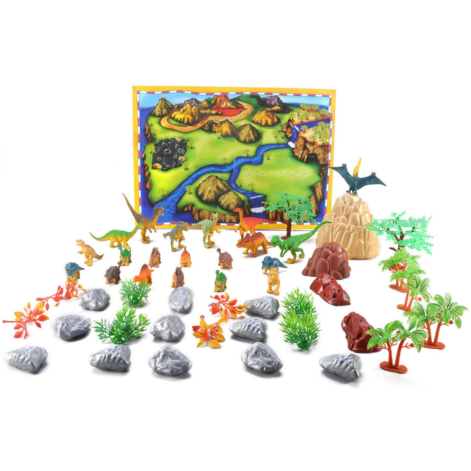 50 Pieces Dinosaur Play Set - Walking Dinosaur with Moving Jaws Coming Out From Jurassic World, Develop Kids Imagination